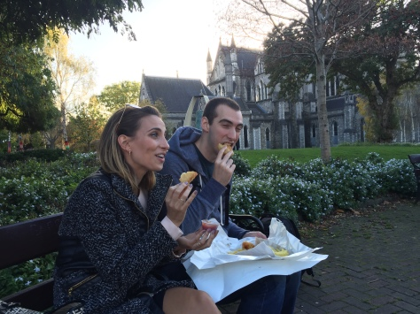 Chowing down at St. Patrick's Cathedral!